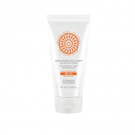 Face and Body Sunscreen with Prickly Pear Oil SPF50 (100ml) - Cosmesi Siciliana